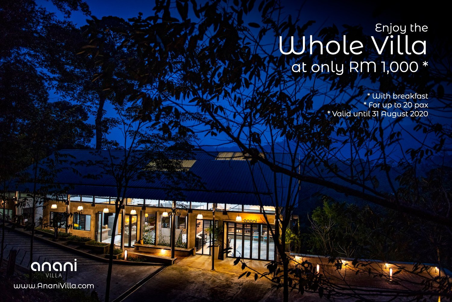 Promotion 2020 - Enjoy the Whole Villa at only RM 1,000